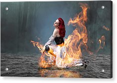 Acrylic Print featuring the mixed media This Girl Is On Fire by Marvin Blaine