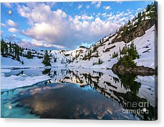 Heather Meadows Blue Ice Reflection Cloudscape Acrylic Print by Mike Reid