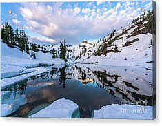 Heather Meadows Reflection Cloudscape Acrylic Print by Mike Reid
