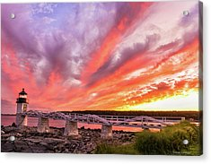 Acrylic Print featuring the photograph Heavens On Fire - Port Clyde by Expressive Landscapes Fine Art Photography by Thom