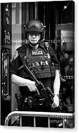 heavily armed nypd protective security detail outside trump tower manhattan New York City USA Acrylic Print by Joe Fox