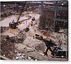 Heavy Equipment In The Mud Of Tennessee Acrylic Print by Everett