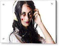 Heavy Metal Zombie Woman Wearing Headphones Acrylic Print