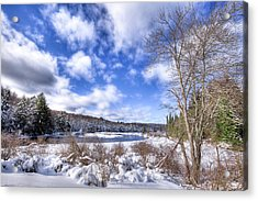 Acrylic Print featuring the photograph Heavy Snow At The Green Bridge by David Patterson