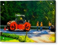Heavy Tandem Vibration Roller Compactor At Asphalt Pavement Works For Road Repairing 2 Acrylic Print by Lanjee Chee