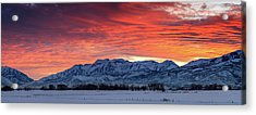 Acrylic Print featuring the photograph Heber Valley Panoramic Winter Sunset. by Johnny Adolphson