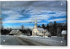 Acrylic Print featuring the photograph New Snow On Hebron Common by Wayne King