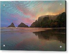 Heceta Head Lighthouse Foggy Sunset Acrylic Print by David Gn