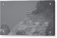 Heceta Lighthouse Snowstorm Acrylic Print