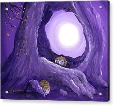 Hedgehogs In Purple Moonlight Acrylic Print
