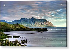 He'eia Fish Pond And Kualoa Acrylic Print by Dan McManus