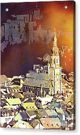 Acrylic Print featuring the painting Heidelberg Sunset- Germany by Ryan Fox