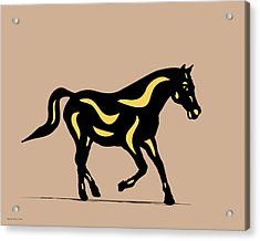 Heinrich - Pop Art Horse - Black, Primrose Yellow, Hazelnut Acrylic Print