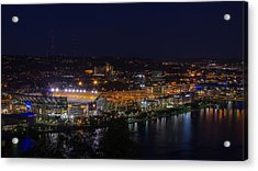 Heinz Field At Night From Mt Washington Acrylic Print