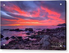 Acrylic Print featuring the photograph Heisler Park Tide Pools At Dusk by Eddie Yerkish