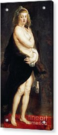 Helena Fourment In A Fur Wrap Acrylic Print by Rubens
