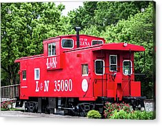 Acrylic Print featuring the photograph Helena Red Caboose by Parker Cunningham