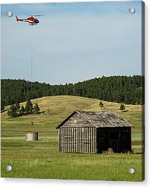 Helicopter Dips Water At Heliwell Acrylic Print