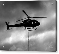 Helicopter In Sling Operations Acrylic Print by Wyatt Rivard