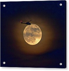 Helicopter Moon And Clouds I Acrylic Print