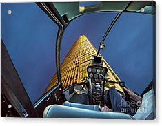 Helicopter On Skyscaper Facade Acrylic Print