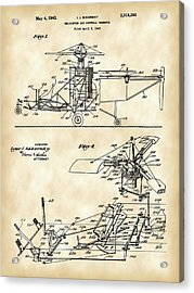 Helicopter Patent 1940 - Vintage Acrylic Print by Stephen Younts