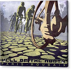Hell Of The North Retro Cycling Illustration Poster Acrylic Print by Sassan Filsoof