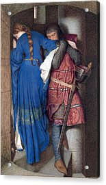 Acrylic Print featuring the drawing Hellelil And Hildebrand Or The Meeting On The Turret Stairs by Frederic William Burton