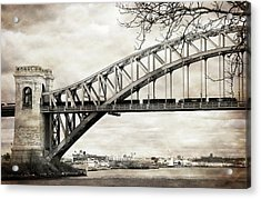 Hellgate Bridge In Sepia Acrylic Print