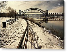 Hellgate Bridge In Winter Acrylic Print