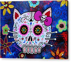 Kitty Day Of The Dead Acrylic Print by Pristine Cartera Turkus