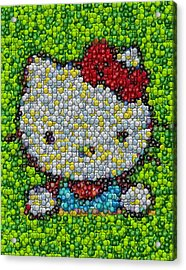 Hello Kitty Mm Candy Mosaic Acrylic Print by Paul Van Scott