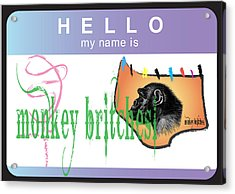 Hello My Name Is Monkey Britches Acrylic Print by Donna Zoll