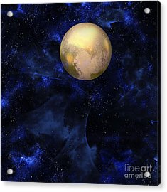 Acrylic Print featuring the digital art Hello Pluto by Klara Acel
