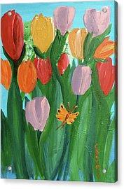 Hello Spring Tulips Acrylic Print