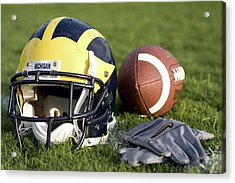 Helmet On The Field With Football And Gloves Acrylic Print