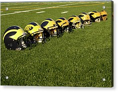 Helmets Of Different Eras On The Field Acrylic Print