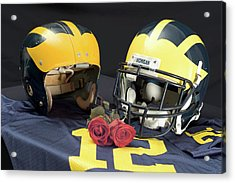 Helmets Of Different Eras With Jersey And Roses Acrylic Print