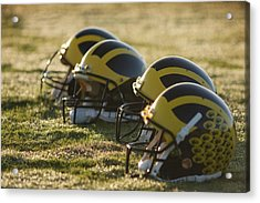 Helmets On The Field At Dawn Acrylic Print