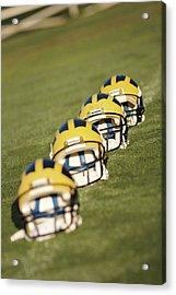 Helmets On Yard Line Acrylic Print