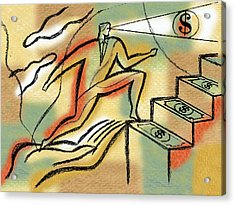 Acrylic Print featuring the painting Helping Hand And Money by Leon Zernitsky