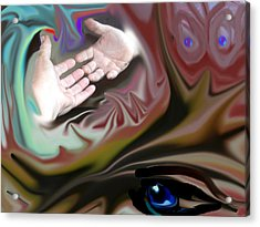 Helping Hands Abstract Acrylic Print by Cathy Kaiser