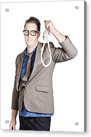 Helpless Businessman Holding Rope With Tied Noose Acrylic Print