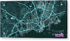 Helsinki Abstract Blue Map, Routes And Traffic Acrylic Print