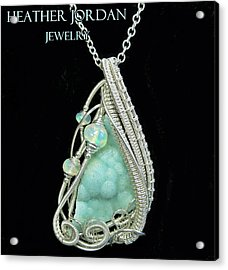 Hemimorphite Druzy Wire-wrapped In Sterling Silver With Ethiopian Welo Opals Hmphpss2 Acrylic Print