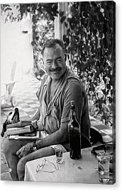 Hemingway And His Dog Negrita Painterly Acrylic Print by Daniel Hagerman