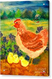 Hen And Chick Acrylic Print