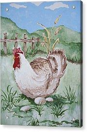 Hen And Eggs Acrylic Print