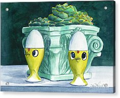 Hen Chicks And Eggs Acrylic Print