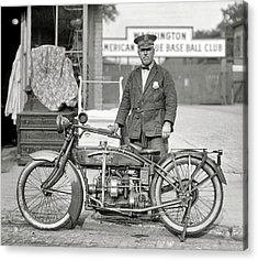 Henderson Motorcycle Cop - Washington D. C.  1922 Acrylic Print by Daniel Hagerman